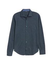Chemise à manches longues en chambray gris foncé