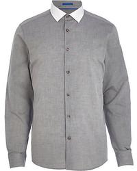 Chemise à manches longues en chambray grise