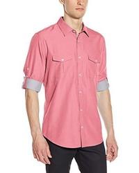 Chemise à manches longues en chambray rose