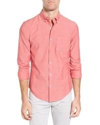 Chemise à manches longues en chambray rouge