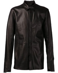 Chemise à manches longues en cuir noire