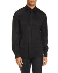 Chemise à manches longues en daim noire