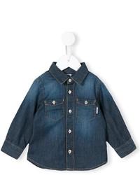 Chemise à manches longues en denim bleu marine
