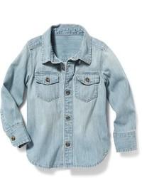 Chemise à manches longues en denim bleue claire