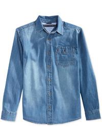 Chemise à manches longues en denim bleue claire Tommy Hilfiger
