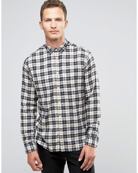 Chemise à manches longues en flanelle à carreaux blanche Selected