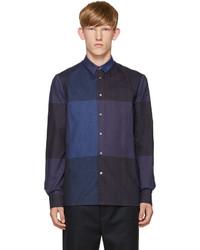 Chemise à manches longues en flanelle à carreaux bleu marine
