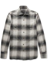 Chemise à manches longues en flanelle à carreaux grise