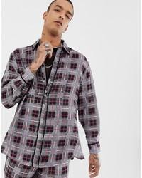 Chemise à manches longues en flanelle à carreaux grise Sacred Hawk
