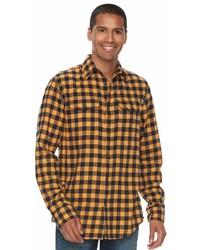 Chemise à manches longues en flanelle à carreaux jaune