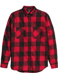 Chemise à manches longues en flanelle à carreaux rouge et noir