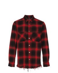 Chemise à manches longues en flanelle à carreaux rouge et noir Amiri