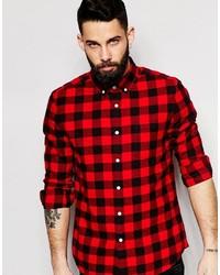 Chemise à manches longues en flanelle à carreaux rouge et noir Asos