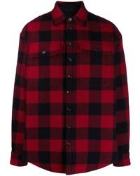 Chemise à manches longues en flanelle à carreaux rouge et noir DSQUARED2