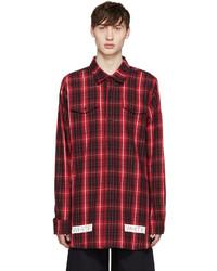 Chemise à manches longues en flanelle à carreaux rouge et noir Off-White