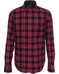 Chemise à manches longues en flanelle à carreaux rouge et noir Rag and Bone