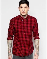 Chemise à manches longues en flanelle à carreaux rouge et noir Scotch & Soda