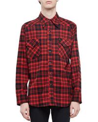 Chemise à manches longues en flanelle à carreaux rouge