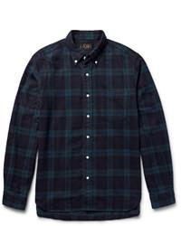 Chemise à manches longues en flanelle à carreaux vert foncé Beams