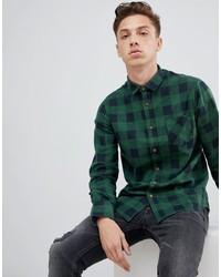 Chemise à manches longues en flanelle à carreaux vert foncé Brave Soul