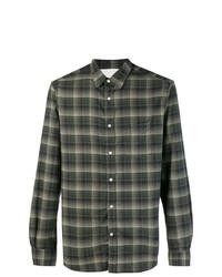 Chemise à manches longues en flanelle à carreaux vert foncé Officine Generale
