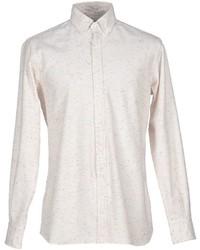 Chemise à manches longues en flanelle beige