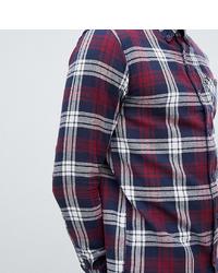 Chemise à manches longues en flanelle écossaise blanc et rouge et bleu marine
