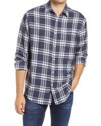 Chemise à manches longues en flanelle écossaise bleu marine et blanc