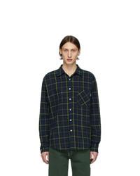 Chemise à manches longues en flanelle écossaise bleu marine et vert