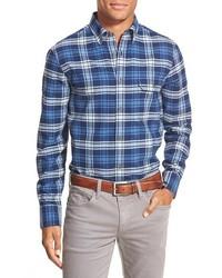 Chemise à manches longues en flanelle écossaise bleue