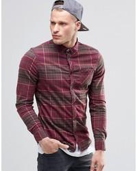 Chemise à manches longues en flanelle écossaise bordeaux Element