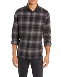 Chemise à manches longues en flanelle écossaise gris foncé