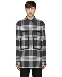 Chemise à manches longues en flanelle écossaise grise
