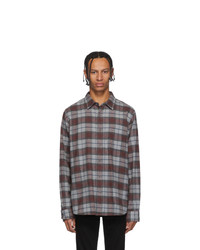 Chemise à manches longues en flanelle écossaise grise Frame