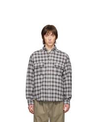 Chemise à manches longues en flanelle écossaise grise Rassvet