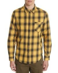 Chemise à manches longues en flanelle écossaise jaune