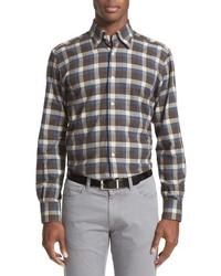 Chemise à manches longues en flanelle écossaise marron