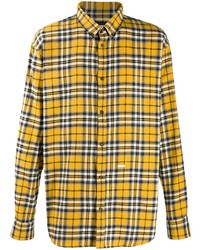 Chemise à manches longues en flanelle écossaise moutarde DSQUARED2