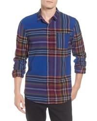 Chemise à manches longues en flanelle écossaise multicolore