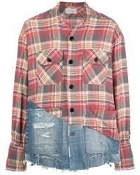 Chemise à manches longues en flanelle écossaise multicolore Greg Lauren