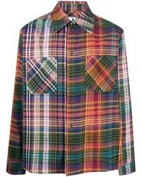 Chemise à manches longues en flanelle écossaise multicolore Off-White