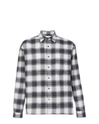 Chemise à manches longues en flanelle écossaise noire et blanche