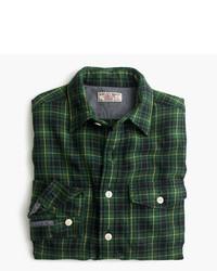 Chemise à manches longues en flanelle écossaise vert foncé