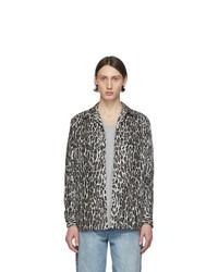Chemise à manches longues en flanelle imprimée léopard grise Wacko Maria