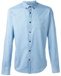 Chemise à manches longues en laine bleu clair