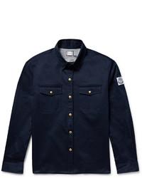 Chemise à manches longues en laine bleu marine Moncler Gamme Bleu