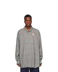 Chemise à manches longues en laine écossaise grise Gucci