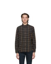 Chemise à manches longues en laine écossaise noire