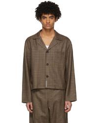 Chemise à manches longues en laine en pied-de-poule marron