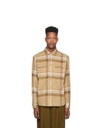 Chemise à manches longues en laine marron clair